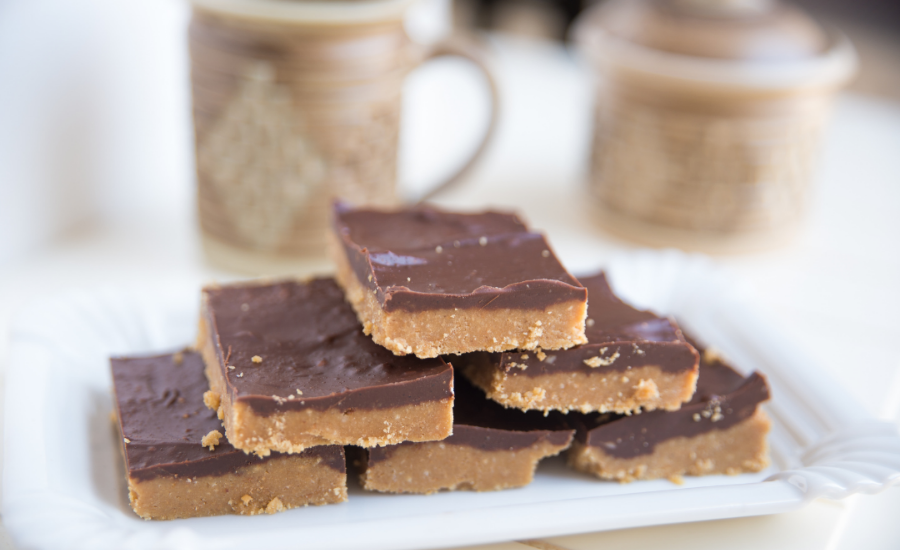 This image features one of the recipes discussed in the blog - almond butter chocolate bars