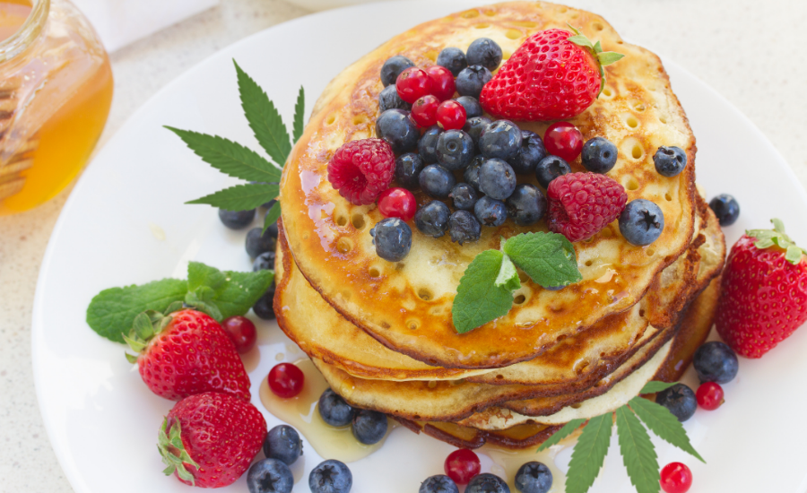 This image features one of the recipes within the blog - cream cheese keto pancakes